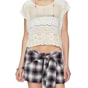 Somedays Lovin Lace Crochet Ivory Bone Cropped Tee